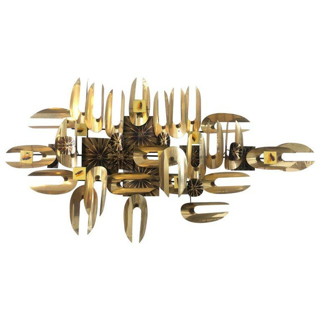 Brutalist Brass and Enamel Wall Sculpture For Sale In Palm Springs - Image 6 of 6