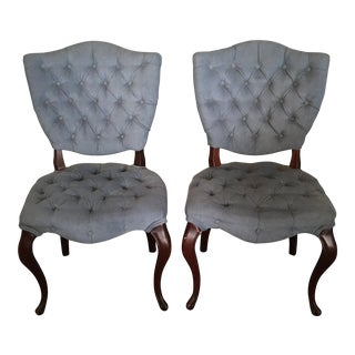 Mid Century Modern Tufted Desk Chairs - A Pair For Sale