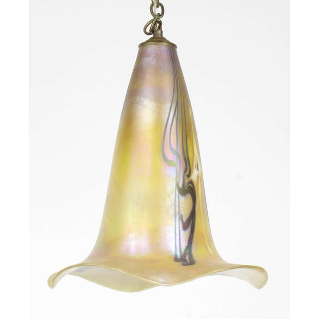 Glass Signed Art Nouveau Sculptural Glass Pendant Light For Sale - Image 7 of 10