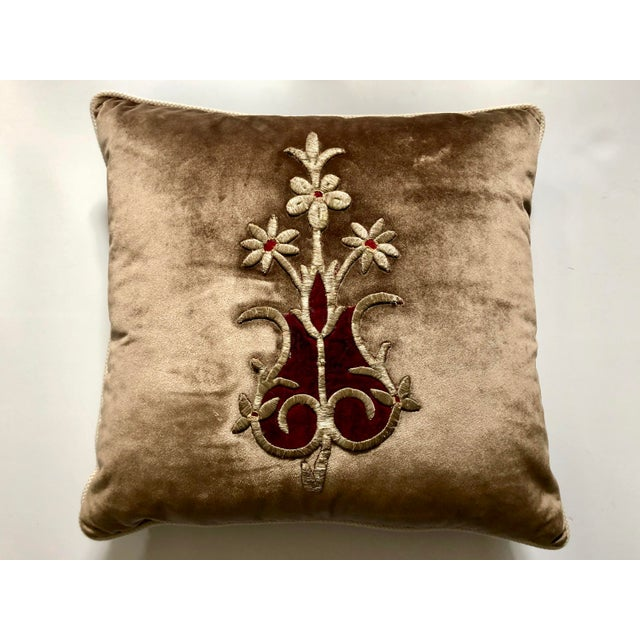 Textile 19th Century Metallic Silver Wire Floral Embroidery Brown Velvet Pillow For Sale - Image 7 of 13