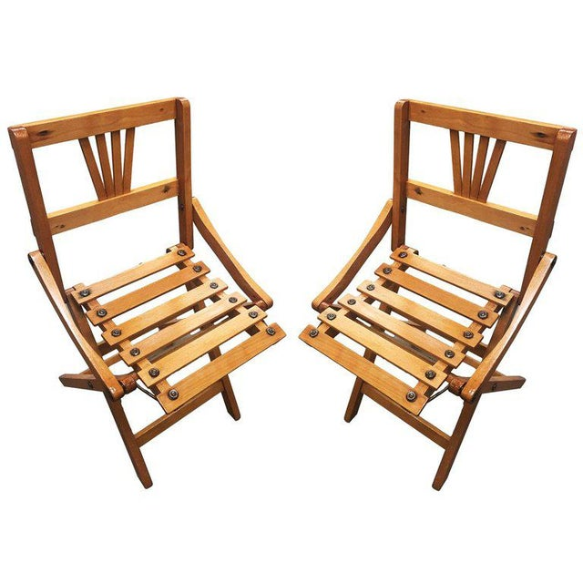 Wood Child-Size Folding Slat Wood Chair, Set of Two For Sale - Image 7 of 7