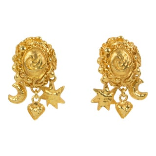 Christian Lacroix Clip Earrings Gilt Metal Dangling Charms For Sale