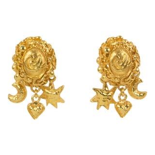 Christian Lacroix Paris Clip on Earrings Gilt Metal Dangling Charms For Sale