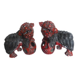 Vintage Hand Carved Wood & Cinnabar Lacquer Foo Dogs - a Pair For Sale