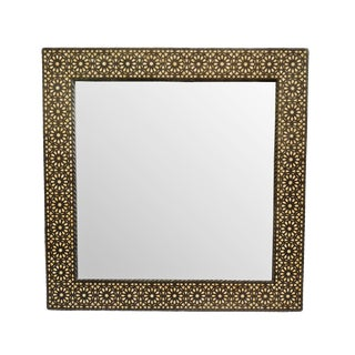 Square Moroccan Wood Inlay Mirror For Sale