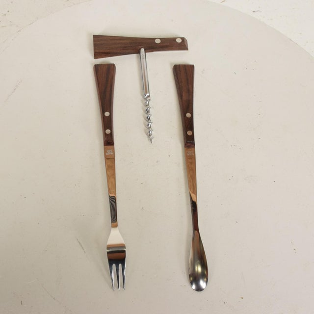 Mid-Century Modern Rosewood Stainless Steel Bar Set Accessories - 3 Pc. Set For Sale In San Diego - Image 6 of 11