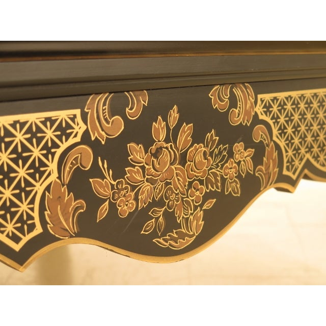 Textile Large Upholstered Chinoiserie Bench For Sale - Image 7 of 11