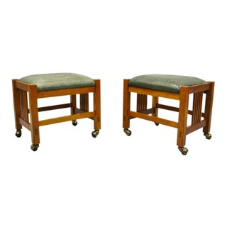 Stickley Mission Arts & Crafts Cherry Wood Green Leather Ottoman Stools- A Pair For Sale