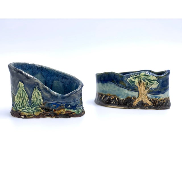 Blue Handmade Ceramic Business Card Holders With Painted and Textured Landscapes - a Pair For Sale - Image 8 of 9