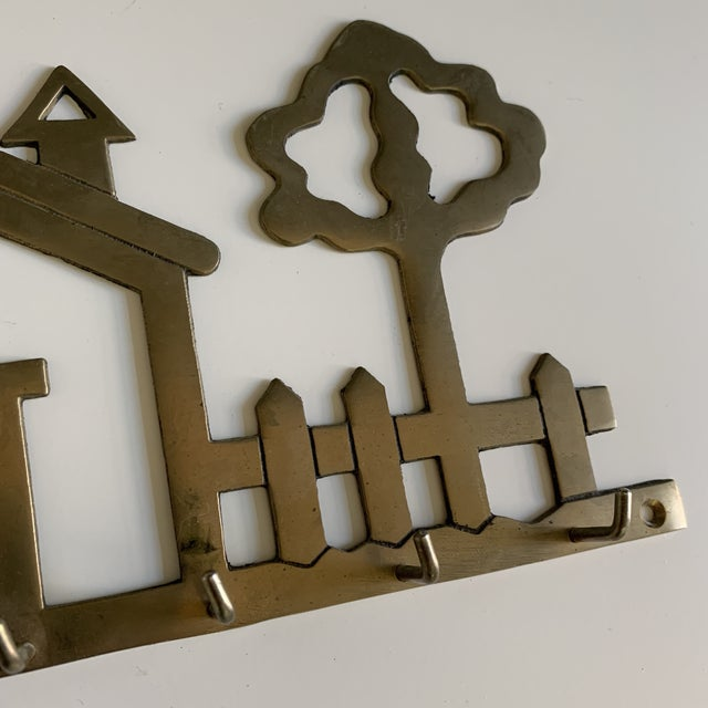 Boho Chic Vintage Brass House Key Hook For Sale - Image 3 of 5