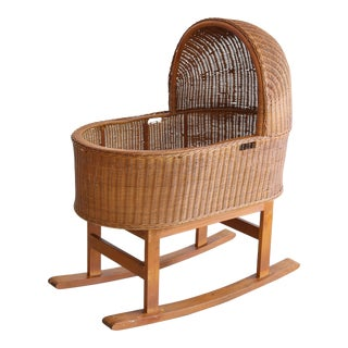 Mexican Wicker Rattan Bassinet Cradle