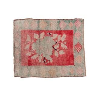 "Vintage Distressed Oushak Square Rug - 2'5"" X 2'11"" For Sale"