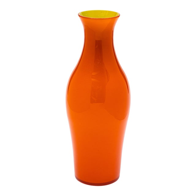 Fortuny by Moretti Madrazo Tall Vase in Orange For Sale