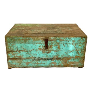 Vintage Distressed Painted Wood Trunk For Sale