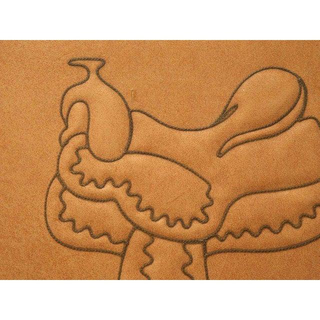 "Lodge Magnificent Original ""Ranch Oak"" Cowboy Arm Chairs W/Saddle Decoration - a pair For Sale - Image 3 of 10"