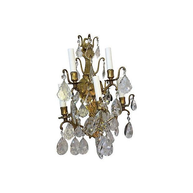 Crystal 1940s Italian Crystal & Glass Sconces - A Pair For Sale - Image 7 of 8
