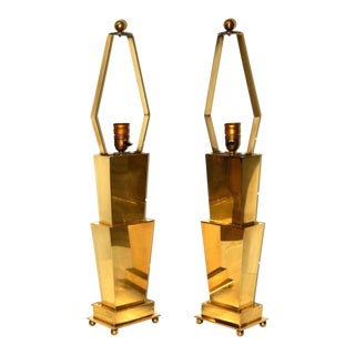 Jere Style Hollywood Regency Solid Brass Table Lamps - A Pair