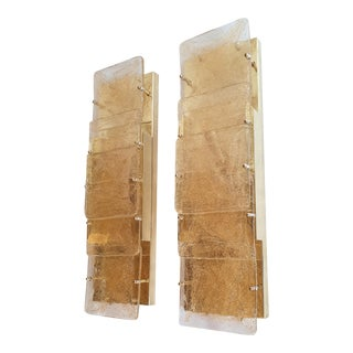 Large 1970s Mid-Century Modern Murano Glass Wall Sconces Attr to Mazzega - a Pair For Sale