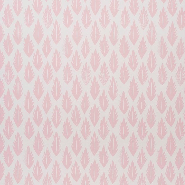 2020s Sample - Schumacher x Molly Mahon Leaf Wallpaper in Pink For Sale - Image 5 of 5