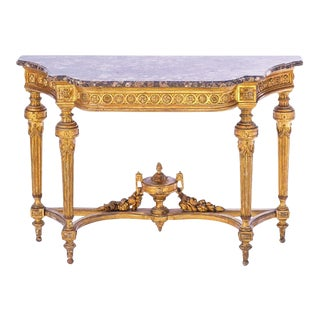 19th C. French Giltwood Marble Top Console For Sale