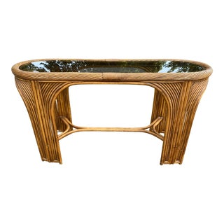 Vintage Boho Pencil Reed Bamboo Console Table For Sale