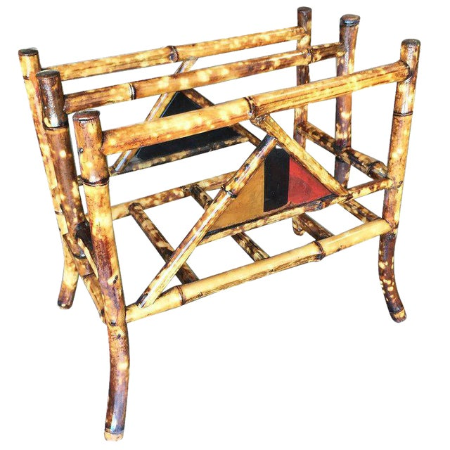 Restored Tiger Bamboo Magazine Rack With Divider - Image 1 of 6