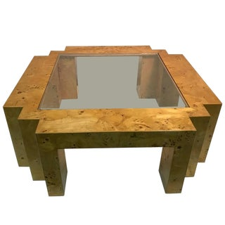Italian Burl Wood Glass Top Coffee Table For Sale