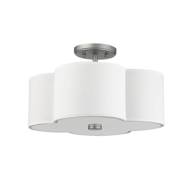 Transitional The Quatrefoil 3 Light Semi-Flush Ceiling, Aged Silver For Sale - Image 3 of 4