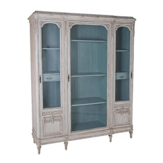 1910s French Painted Belle Epoque Aqua Interior Biblioteque For Sale