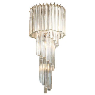 Italian Murano Spiral Crystal Glass Prism Chandelier by Venini For Sale