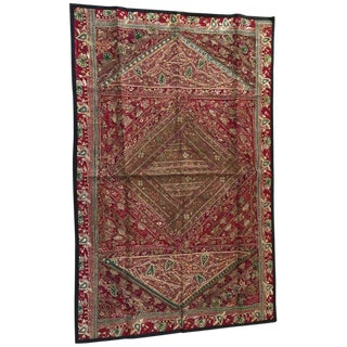 Hand Embroidered and Quilted Textile From India For Sale