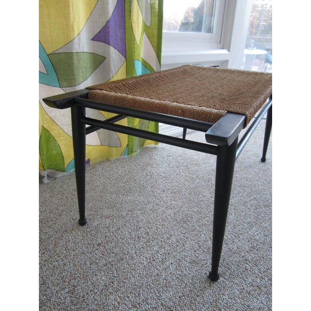 Vintage Mid-Century Modern Woven Rope Ebony Stained Wooden Bench - Image 5 of 7