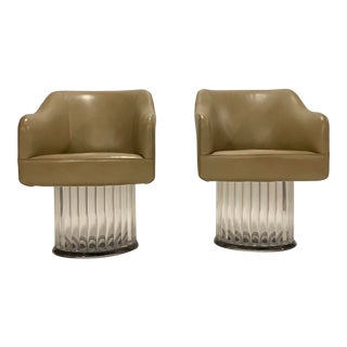 Space Age Swivel Arm Chairs on Lucite Base For Sale