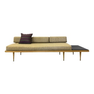 Platform Couch With Built in Side Table For Sale