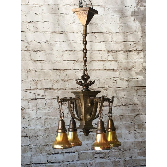 Glass Hammered Arts and Crafts Mission Craftsman Chandelier For Sale - Image 7 of 7
