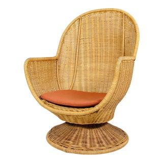 Vintage Mid-Century Rattan Swivel Armchair For Sale
