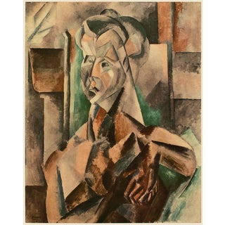 """1954 Pablo Picasso """"Woman in Green"""", Large Period First Limited Italian Edition Lithograph For Sale"""