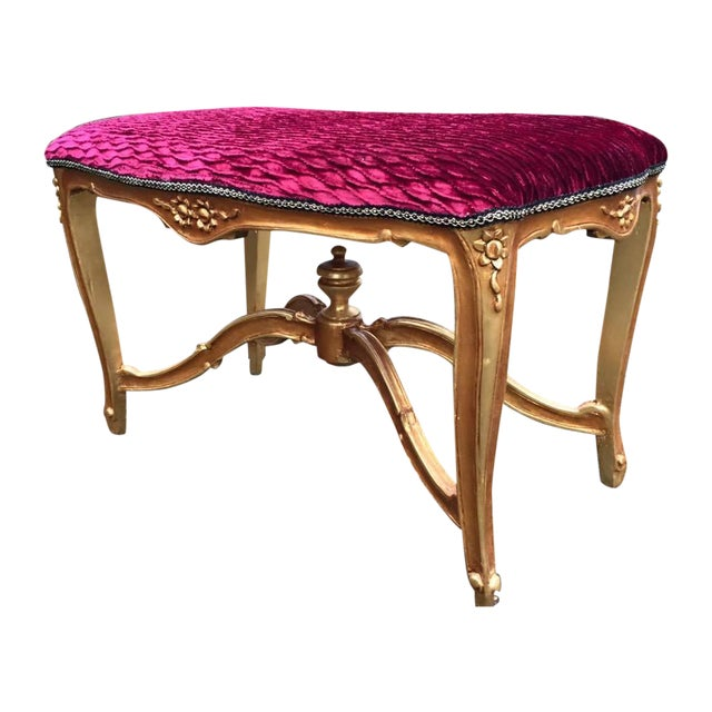 Bed Bench in Louis XVI Style with Gold Leaf - Image 1 of 6