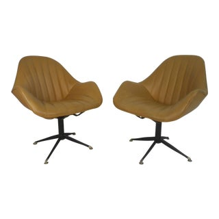 Mid-century Modern France & Sons Swivel Lounge Chairs - a Pair For Sale