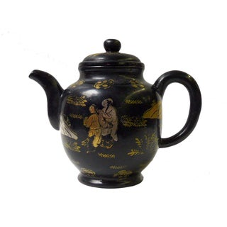 Chinese Clay Display Teapot, Black & Gold Scenery For Sale