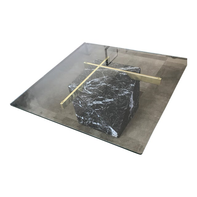 Artedi Nero Marquina Marble & Brass Coffee Table - Image 1 of 8