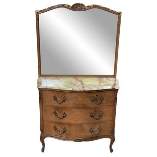 Antique French Provincial Marble Top Serpentine Front Mirrored Dresser For Sale