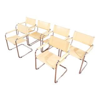Mart Stam Style Chrome Tubular Chairs - Set of 6