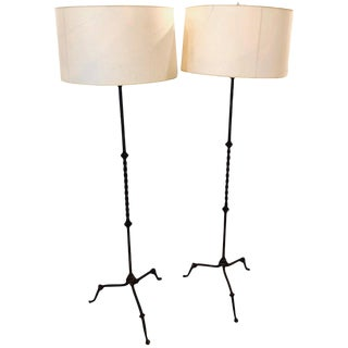 Pair of Diego Giacommetti Style Hand Welded Metal Standing Lamps For Sale