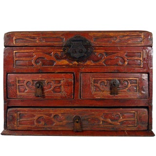 Vintage Carved and Lacquered Jewelry Box with Drawers from China, 1950s For Sale