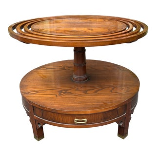 Grosfeld House Hollywood Regency Mid Century Modern Round Oak Coffee or Side Table For Sale