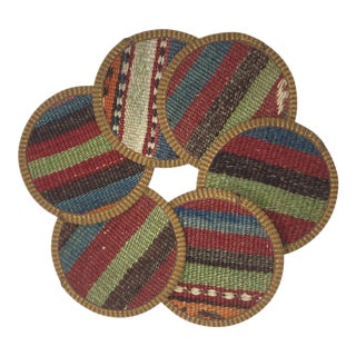 Rug & Relic Kilim Coasters Set of 6 | Nuray For Sale