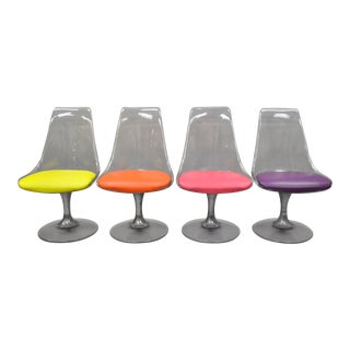 Lucite Chromcraft Tulip Base Swivel Dining Chairs Mid Century Modern Colorful - Set of 4