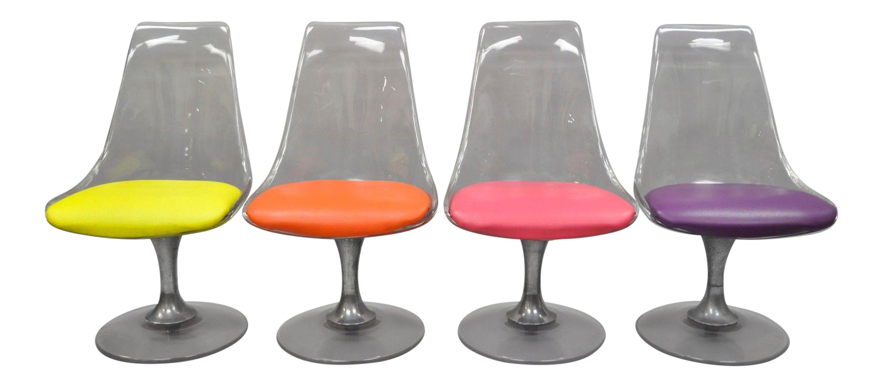 Lucite Chromcraft Tulip Base Swivel Dining Chairs Mid Century Modern  Colorful   Set Of 4