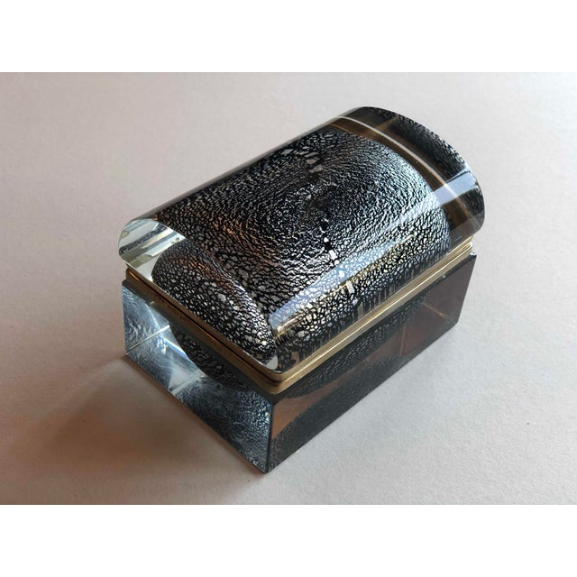 Glass Italian Mid Century Silver Leaf and Black Murano Sommerso Box For Sale - Image 7 of 9